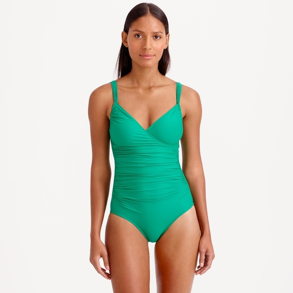 d8449f6a91d J. Crew Other - J. Crew Ruched Wrap One-Piece Swimsuit in Green